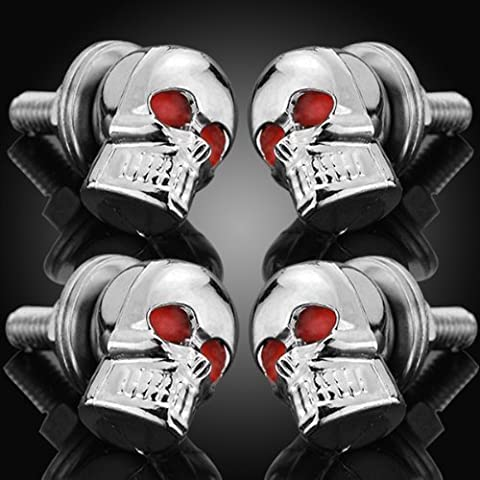 4pcs 6mm Chrome Skull Red Eye License Plate Lic Tag Frame Windshield Trim Bolts Screws Fantastic Replacement Universal Fit Hotrods Trailer by Astra Depot