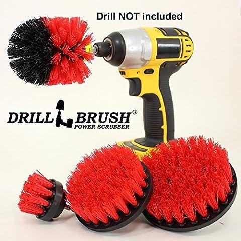 Stiff Bristle Nylon Cordless Drill Powered Spinning Brush Heavy Duty Scrubbing 4 Brush Kit by Drillbrush