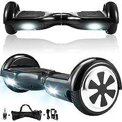 Magic Vida Skateboard Électrique 6.5 Pouces Puissance 700W avec Haut Parleur Bluetooth et LED Gyropode Auto-Équilibrage de Bonne qualité pour Enfants et Adultes (Noir)