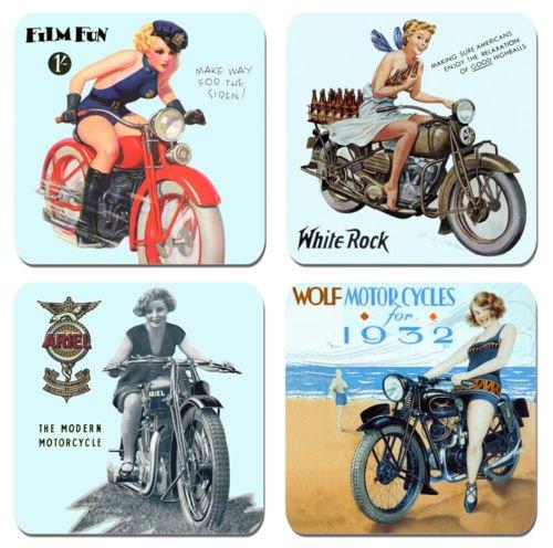 Neunzehn dreißiger Jahre Motorrad Werbung Getränke Untersetzer Set von 4 Hochwertigem Kork Britische und amerikanische Motorräder (Vintage Britische Motorräder)