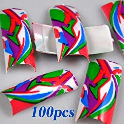 100 Artistic Design False French Nail Art Tips by 350buy by 350buy