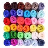 Filzwolle Märchenwolle 36 Farben 180g Fuyit Filzwolle Set Märchenwolle Filznadeln Werkzeug Starter Kit für Nadel Filz DIY Handwerk 5g/farben