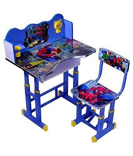 FF Blue Spider Man Kids Study Table & Chair Set Suitable for Kids Between 3-10 Years by FURNITURE FIRST