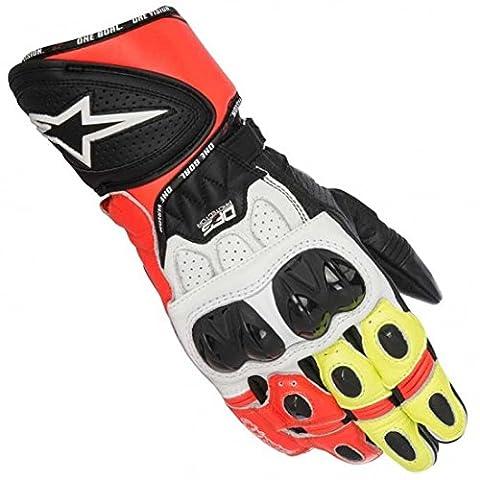 Gants Moto Alpinestars Gp Plus - Gants Alpinestars GP Plus R Blanc/Rouge/Jaune Fluo