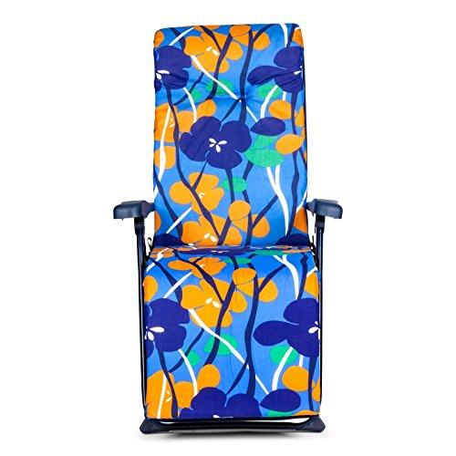 SOLENNY - Tumbona de jardín plegable con acolchado de 6 cm. de grosor, reposacabezas y 6 posiciones, tubo oval, estampado naranja y azul