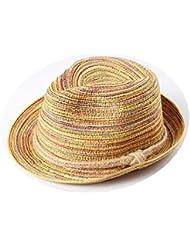 JUNGEN Sombrero de paja de la moda de sombrero de mujer con la línea colorida tapa de protector solar de ocio para al aire libre o viajar en verano