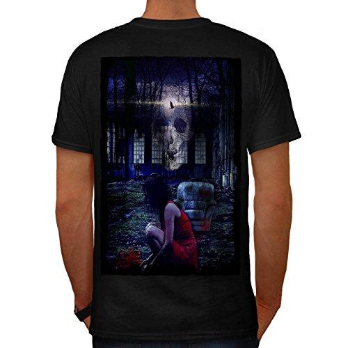 Mädchen schaurig Schädel Horror Geist Dame Herren M T-shirt Zurück | (Schlecht Kostüme Kind Geistes)