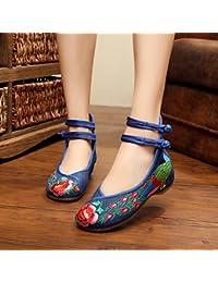 &qq Extremo del viento/del bordado/mujer/zapatos/zapatos/cuñas/tendón de China de primavera/verano/otoño/vintage/moda/color , blue , 35