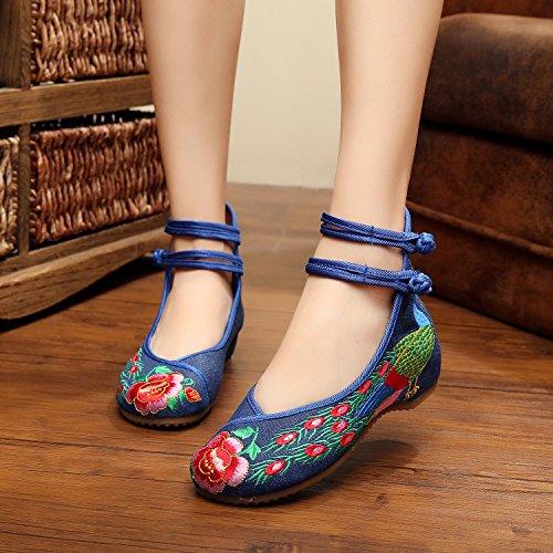 &qq Fine di vento/ricamo/donna/scarpe/scarpe/zeppe/tendine di Cina di primavera/estate/autunno/vintage/moda/colore Blue