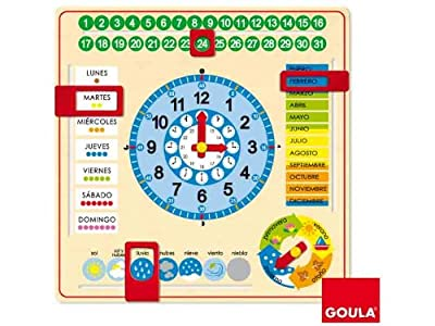 Goula - Reloj y calendario en castellano, material educativo (Diset 51305) de Diset