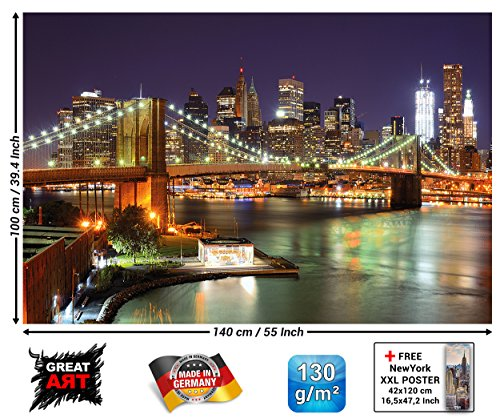 GREAT ART XXL Poster - New York - Wandbild Dekoration Brooklyn Bridge bei Nacht leuchtende Wolkenkratzer Skyline Wall Street USA Deko Wandposter Fotoposter Wanddeko Bild (140 x 100 cm) - Brooklyn Bridge Skyline