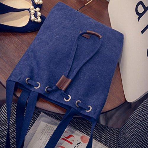 Longra Sacchetto della benna di chiusura della stringa della tela di canapa delle donne di modo Blu