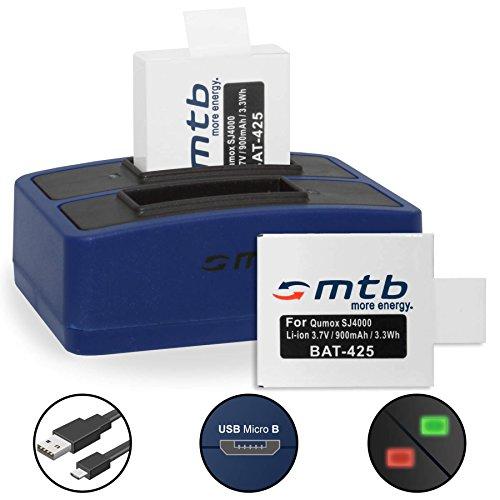 2 Akkus + Dual-Ladegerät (USB) für Qumox SJ5000(+), SJ5000X, SJ4000(+) / SJCam M10(+), X1000... - inkl. Micro-USB-Kabel - Sjcam Wifi 4000