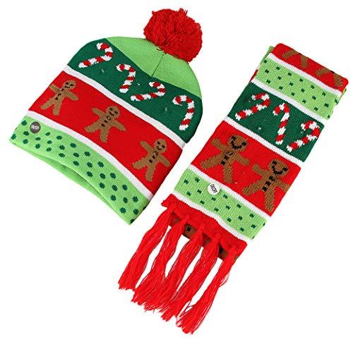 (GEMVIE 2er Kinder Weihnachtsmütze Erwachsene LED Mütze Winterschal Bunt Wintermütze Bommelmütze Strickmütze Beanie Kopf 49-56cm Mehrfarbig)