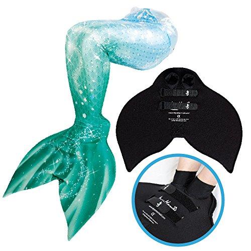 Abyss Mermaid® Milkyway Auflage - Meerjungfrauenschwanz mit Meerjungfrau Flosse zum Schwimmen - Für Kinder und Erwachsene - Echte Meerjungfrauen Kostüme (Grün, (Kein Gefunden Kostüm)