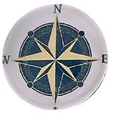 Morella Unisex Glas Click-Button Druckknopf Kompass blau weiß