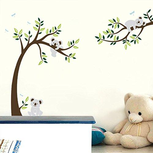 ufengke® Großer Baum Cartoon Tiere Koala Wandsticker, Babyzimmer Kinderzimmer Entfernbare Wandtattoos Wandbilder (Koala Baum)