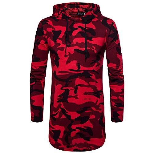 Herren Kapuzenpullover Lang Camouflage Sweatshirt Langarm Oxford Hoodie Pullover Pulli Freizeitanzüge Slim Fit T-Shirt Outdoor Kapuzenshirt Sport Top, Rot, Large