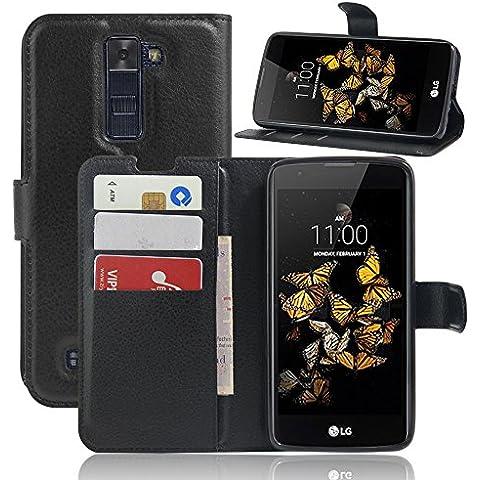 SMTR LG K8 Fundas de PU Cuero Flip, Standing Leather Wallet Case Cover Carcasa Funda con Ranura de Tarjeta Cierre Magnético y función de soporte para LG K8,