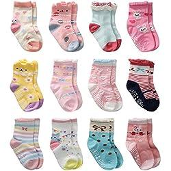 12 Pares de Calcetines Antideslizantes para Niñas Pequeñas Algodón Lindo con Puños, Calcetines Antideslizantes para Piñas Pequeñas (12 pares, 6-12 meses)
