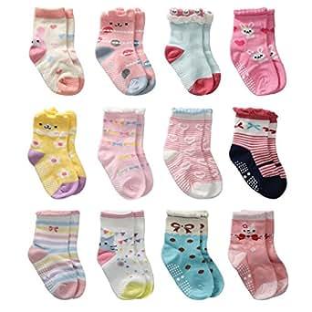 12 Paires Non Pelucheux de Chaussettes de Fille d'Enfant en Bas âge Coton Mignon Avec des Poignées, Chaussettes Anti-dérapantes de Filles de Bébé (12 paires, 0-6 mois)