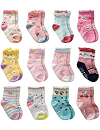 12 Pairs Toddler Girl Non Skid Socks Cute Cotton with Grips, Baby Girls Anti-skid Socks