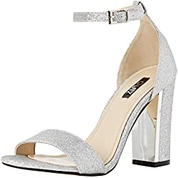 Quiz Damen Barely There Block Shimmer Sandals Peep-Toe Pumps, Silberfarben, 40 EU
