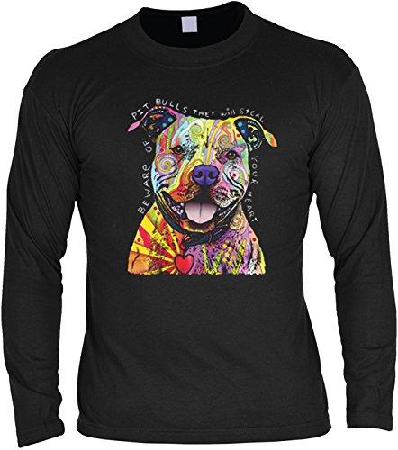 Hunde-Langarmshirt /Longsleeve mit coolem Dog-Neon-Druck: Beware Of Pit Bulls für Hundefreunde Schwarz
