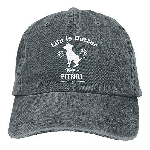 Voxpkrs Life is Better Pitbull Unisex Baseball Cap Cowboy Hat Dad Hats Trucker Hat ABCDE09397 -