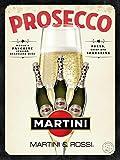 RABEAN Prosecco Martini Targhe in Latta Avvertimento di Arte retrò Dipinto di Ferro Vintage Decorazioni in placca di Metallo per Strada Home Store Cafe Bar