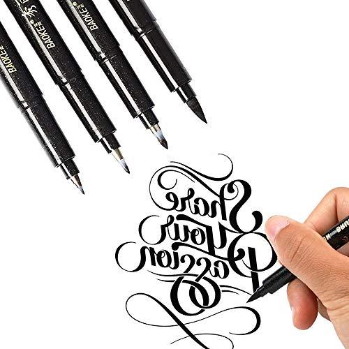 Refill Kalligraphie Stift, leegoal 4 Größe nachfüllbare Hand Beschriftung Pinsel Tinte Marker Stifte für Kuschel Einsteiger schreiben, Signatur, Illustration, Design, Kartenherstellung (4 pcs)