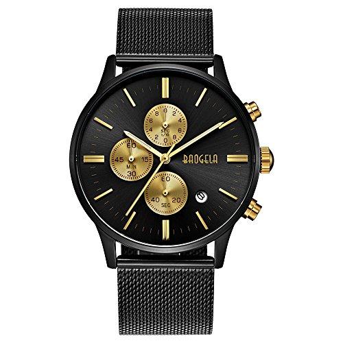 Uhren Männer Schwarz Edelstahl Mesh Armband Golden Zifferblatt Chronograph Datum Wasserdicht - AIMAL (Replik Uhren Männer)