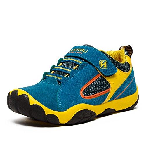 SAGUARO Jungen Trekking Wanderschuhe Kinderschuhe mit Klettverschluss Leicht Sport Schuhe Outdoor Laufschuhe Mädchen Turnschuhe Sneaker, Blau (Schuhe Leichte Kinder Für)