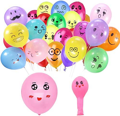 Liuer 100PCS Luftballons für Helium Geeignet, 10 Zoll Smiley Ballon Bunt Latex Luftballon Ballons für Hochzeit Geburtstag Graduierung Weihnachten Brautgeschenke Baby-Duschen Valentinstag