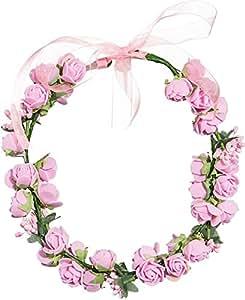 Blumenkranz Blumenmädchen Blütenhaarband in 3 Farben weiß rosa Rosen (rosa)