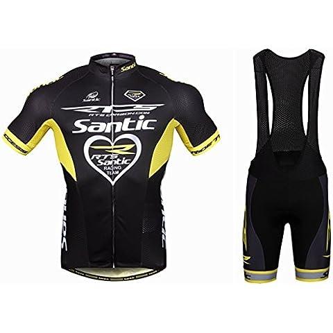 MaMaison007 Santic Mens bicicleta bici ciclismo trajes cortos deportes Jersey corto manga y pantalones cortos babero