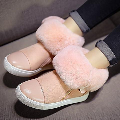 Aumento all'interno della versione coreana di stivali da donna stivali caldi della neve due indossare pelle, pelliccia stivaletti focaccina piatta , pink , 35