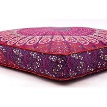 Exclusivo almohadas de suelo tamaño grande, redondo Mandala manta, al aire libre cojín, decorativo fundas de almohada de, sofá cama de día niños Teen suelo almohada por Bhagyoday Fashions