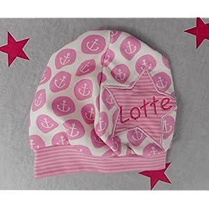 pinkeSterne ☆ Beanie mit Namen Name Vorname Mütze Individuell Maritim Rosa Pink Anker Streifen