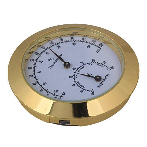 yibuy Golden rund Legierung Violine Thermometer und Hygrometer für Gitarre Violine Fall