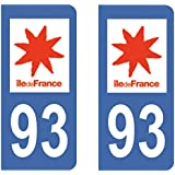 Paire Sticker immatriculation 93 - Seine Saint Denis