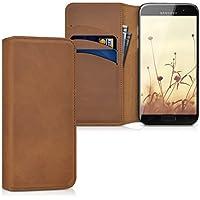 kalibri Hülle für Samsung Galaxy A3 (2017) - Wallet Case Handy Schutzhülle echtes Leder - Klapphülle Cover mit Kartenfach und Ständer Cognac