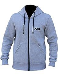 XXR Paire polaire zippée capuche Vêtements haut à capuche pour homme Sport Course à Pied Jogging Fitness Casual polaire tous les temps en coton sport Wear Hottes de boxe MMA (Gris)