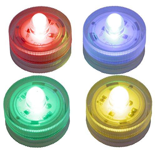 LED-Highlights Deko Kerzen Teelichter 4 er Set (je 1 x rot, gelb, blau, grün) wasserdicht flackernd kabellos Batterie Stimmungslicht Tischlampe Innen Aussen