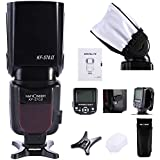 Flash Speedlite, Speedlite Kit de K&F Concept® Universal para Canon y Nikon Cámara Flash con Zapata (Ángulo de Giro 0 ~ 180 grados) + Difusor de flash Soft Box