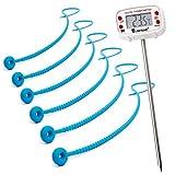Lantelme 7143 Rouladenthermometer Digital mit beweglichen Kopfteil und 6 Stück Silikon Rouladenbinder 54 cm im Set