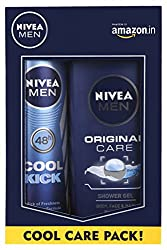 Nivea Men Cool Kick Deodorant Spray, 150ml with Original Care Shower Gel, 250ml