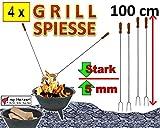 4 Grillspieße Grillspieß 1 m Länge Wurstspieß Grillgabel BBQ Grillbesteck