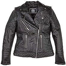 Vestes en cuir Michelle pour femmes à la mode, Noires, Taille : 2XL