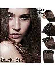 Romantic Angels®24''(60cm) Extensions de cheveux à clips 100% naturel qualité Remy Hair 120g Couleur: BRUN FONCÉ#2